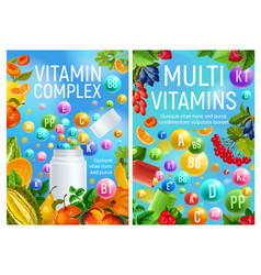 Multivitamins complex in fruits and berries poster vector
