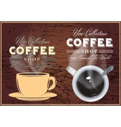 patterns coffee with inscriptions on background vector image