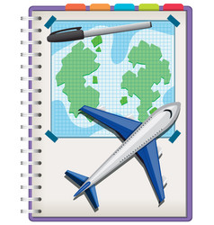 Plane and pen on notebook isolated on white vector