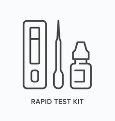 Rapid test kit flat line icon outline vector
