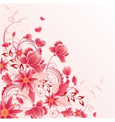 red floral background with ornament vector image