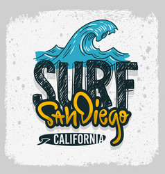 san diego california surfing surf design h vector image