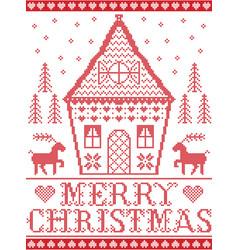 scandinavian style merry xmas gingerbread house vector image