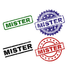 Scratched textured mister seal stamps vector