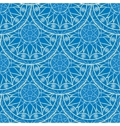 Seamless blue floral mandala pattern vector