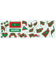 Set national flag maldives vector