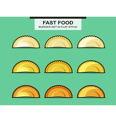 Set of chebureks in flat style with an inking vector