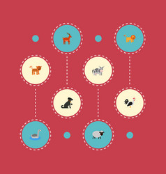set of zoo icons flat style symbols with cow dog vector image
