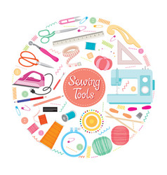 Sewing kits icons set on circle frame vector