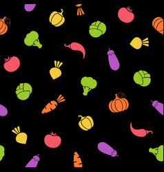 silhouette vegetable seamless black pattern design vector image