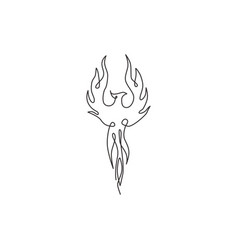 Single continuous line drawing flame phoenix vector
