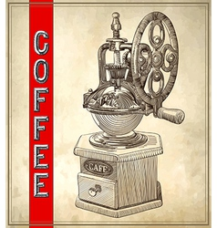Sketch drawing of coffee grinder on grunge vector image