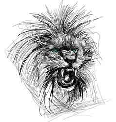 sketch of lion head vector image