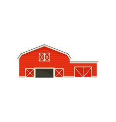 Small garage next to a large barn vector