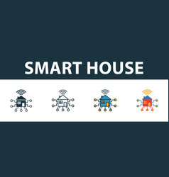 smart house icon set premium symbol in different vector image