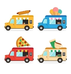 Street Fast Food Truck Set vector