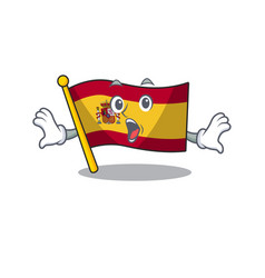 Surprised flag spain isolated in cartoon vector