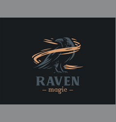 the raven sits on its paws vector image