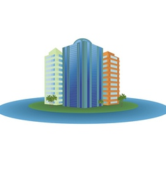 The small city on the island vector image