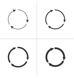 Three circle clockwise arrows black icon set vector