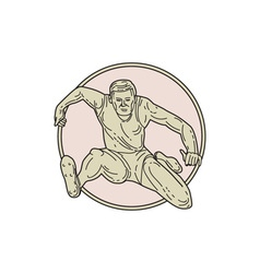 Track and field athlete hurdle circle mono line vector