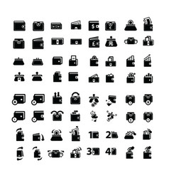 Wallet icons set 64 item vector