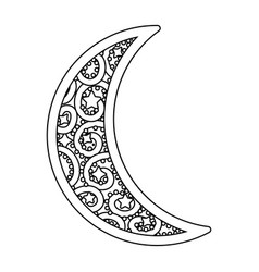 Waning moon icon black and white vector