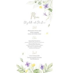Watercolor hand painted wedding menu card template vector