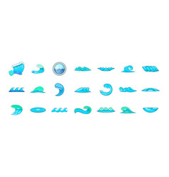 wave icon set cartoon style vector image
