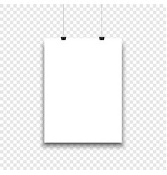 white paper sheet hanging on isolated background vector image