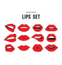 Womans lip emotions gestures set vector image