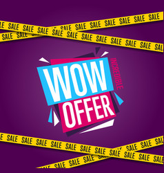 Wow offer banner in modern style vector