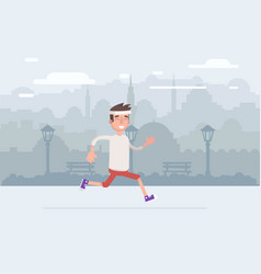 young man jogging in the park does vector image