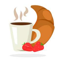 breakfast coffee tea croissant strawberry vector image vector image