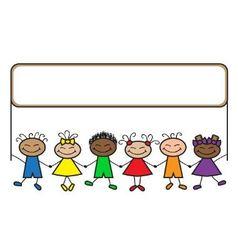 cartoon kids with banner vector image
