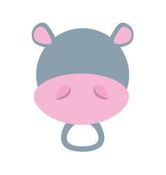 head cute hippo animal image vector image