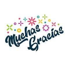 muchas gracias spanish thank you greeting card vector image