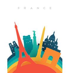 travel france 3d paper cut world landmarks vector image vector image