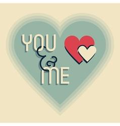you and me heart emlem on beige design element vector image vector image