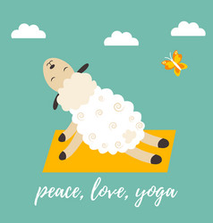 cute cartoon sheep doing some yoga exercises vector image