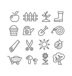 Gardening line icons vector image