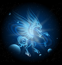 luminous pegasus in space vector image vector image