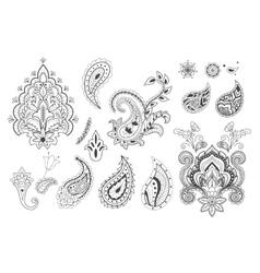 Set of decorative paisley templates vector image