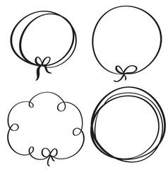 set of flourish calligraphy vintage doodle frame vector image