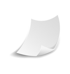 white paper sheet with curved flipped corner vector image vector image