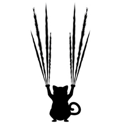 Black cat silhouette with scratches4 vector