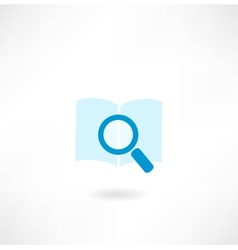book with a magnifying glass icon vector image