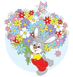 Bunny with flowers vector image vector image