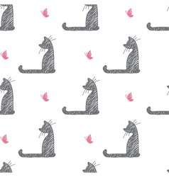cat and butterfly vector image vector image