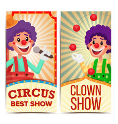 circus clown vertical banners template vector image